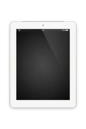 Top view of white tablet computer in portrait orientation isolated on white background  You can put your own interface or inscription on the screen