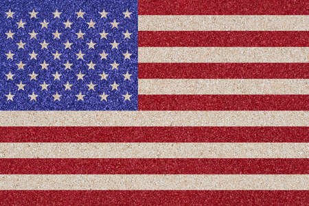 Flag of the United States of America made of colored decorative sand. photo