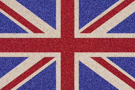 Flag of Great Britain made of colored decorative sand. photo