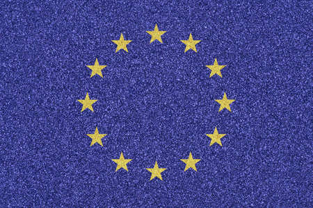 Flag of the European Union made of colored decorative sand  photo
