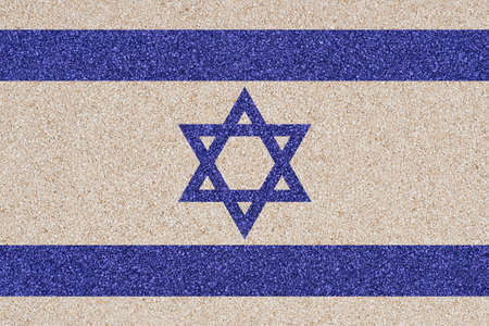 Flag of Israel made of colored decorative sand  photo
