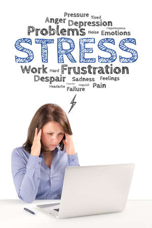 overwrought: Business woman is sitting under stress emotions bubble in front of modern laptop and holding hands behind her head, business concept