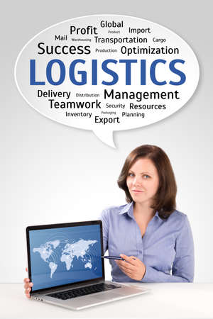 Logistics manager is showing world map on a laptop screen under technology wordcloud, business concept photo