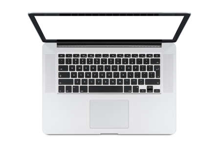 top: Top view of modern retina laptop with English keyboard isolated on white background. High quality.