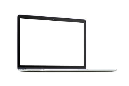rotated: Front view of a rotated at a slight angle modern laptop with blank screenisolated on white background. High quality.