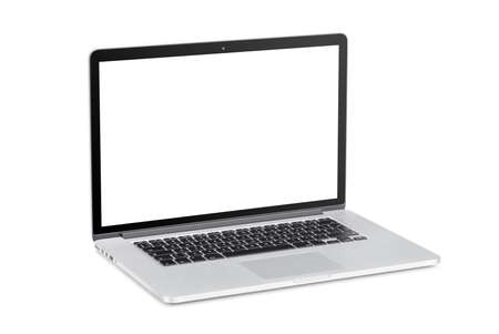 rotated: Rotated at a slight angle modern laptop with blank screen is isolated on white background. High quality.