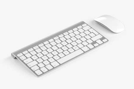 teclado numerico: Teclado sin hilos del ordenador con el alfabeto y el ratón Inglés son aislados en fondo blanco