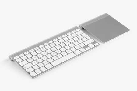 alphabet computer keyboard: Wireless computer keyboard with the English alphabet and trackpad are isolated on white background Stock Photo