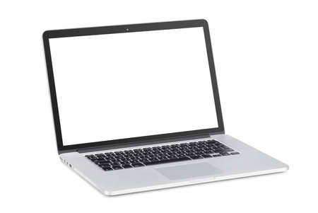 Rotated at a slight angle modern laptop with tilted back white monitor is isolated on white background  High quality