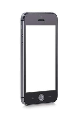 vysoký úhel pohledu: Čelní pohled otočený pod mírným úhlem černé moderní inteligentní mobilní telefon s prázdnou obrazovkou na bílém pozadí Vysoká kvalita Reklamní fotografie