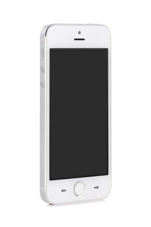 Front view of a rotated at a slight angle white modern mobile smart phone with blank black screen isolated on white background  High quality  photo