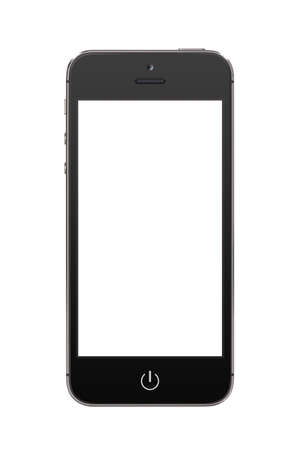 Directly front view of a modern black mobile smart phone with blank screen isolated on white background  High quality Banco de Imagens - 26067420