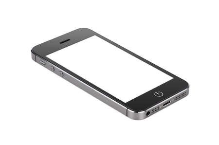 aislado: Smartphone moderno negro con la pantalla en blanco se encuentra en la superficie, aislado en fondo blanco. Whole imagen en foco, de alta calidad. Foto de archivo