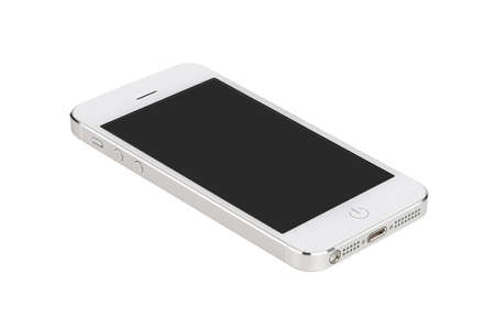 White modern smartphone with blank screen lies on the surface, isolated on white background. Whole image in focus, high quality.