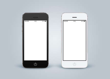 Directly front view of black and white smartphones with blank screenon gray gradient background. High quality.