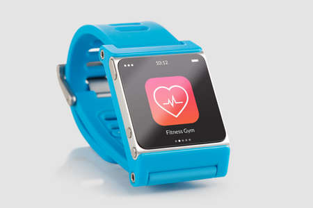 Close up blue smart watch with fitness app icon on the screen  Imagens