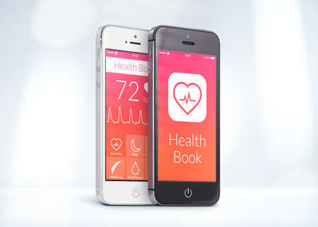 half turn: Black and white smartphones with health care book app on the screen are close to each other in half turn and rotated at a slight angle.  Stock Photo