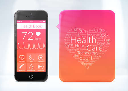 Directly front view of health book application for smartphone with word cloud sticker. photo