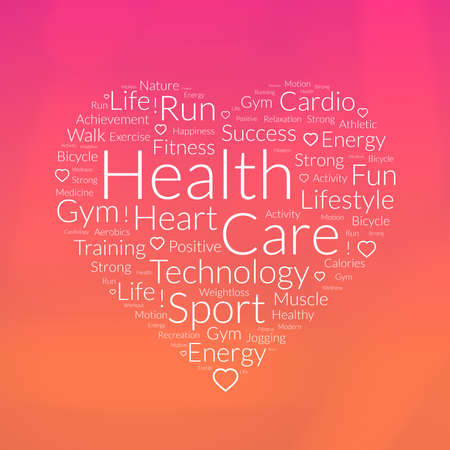 care about the health: Illustration of heart shape word cloud about health care Stock Photo