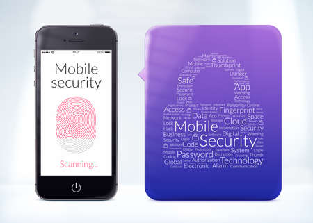 Directly front view of fingerprint scanning on smartphone screen with word cloud sticker about mobile security. photo