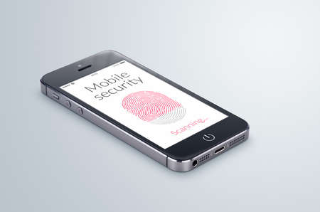 Black modern smartphone with mobile security fingerprint scanning on the screen lies on the gray surface. Stock Photo