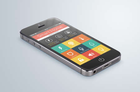 home security system: Black modern smartphone with smarthome application on the screen lies on the gray surface. Stock Photo
