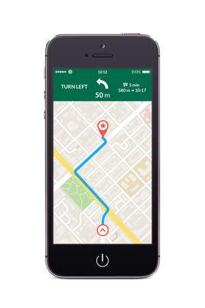 Direct vooraanzicht van zwarte smartphone met kaart gps navigatie-app op het scherm geïsoleerd op een witte achtergrond. Hoge kwaliteit. Stockfoto