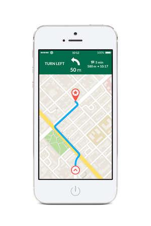 Direct vooraanzicht van witte smartphone met kaart gps navigatie app met geplande route op het scherm op een witte achtergrond. Hoge kwaliteit.