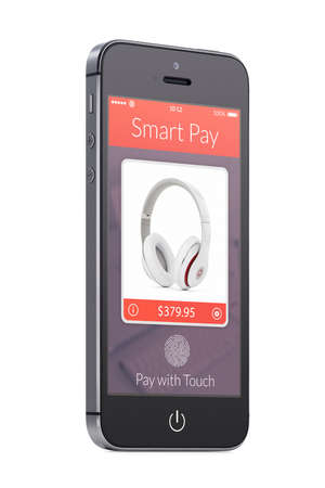 Bottom up view of rotated at a slight angle black modern mobile smart phone with nfc smart pay app on the screen isolated on white background. Concept of purchase of headphones by fingerprint scanning photo