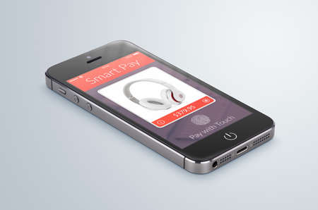 Black modern smartphone with nfc smart pay application on the screen lies on the gray surface. The concept of purchase of headphones by fingerprint scanning. High quality. photo