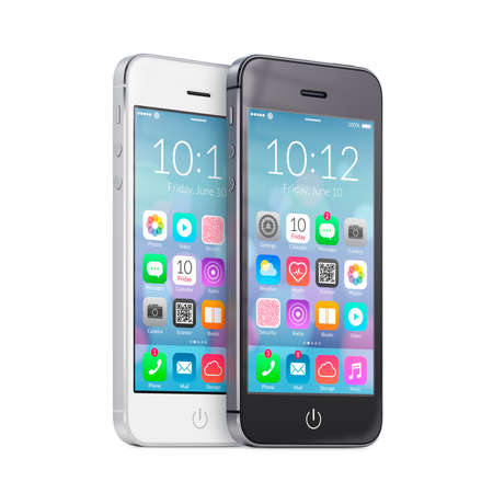 Black and white smartphones with colorful flat design application icons on the screen are close to each other in half turn and rotated at a slight angle on white background. photo