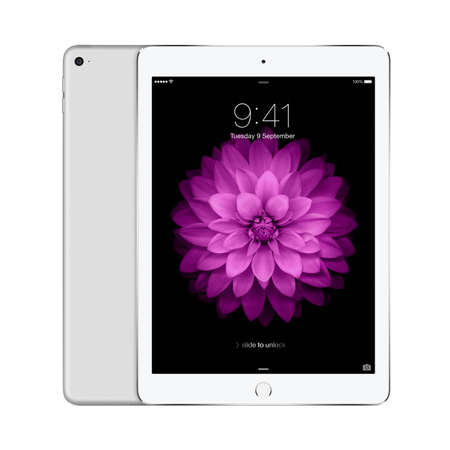 Varna, Bulgaria - February 02, 2014: Front and back sides of Apple Silver iPad Air 2 displaying iOS 8 with lock screen on the display, designed by Apple Inc. Isolated on white background. High quality.
