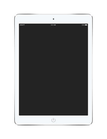 Front view of white tablet computer with blank screen mockup isolated on white background.