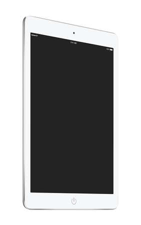 Bottom up view of rotated at a slight angle white tablet computer with blank screen mockup isolated on white background. High quality.