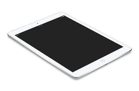 White tablet computer with blank screen mockup lies on the surface, isolated on white background. Whole image in focus, high quality. Stock Photo
