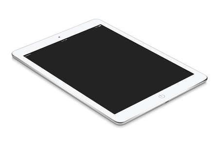 tableta: White tablet počítač s prázdnou obrazovkou mockup leží na povrchu, na bílém pozadí. Celý obraz v zaměření, vysoká kvalita.