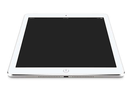 Angled front view of white tablet computer with blank screen mockup on the surface, isolated on white background.