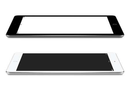空白画面のモックアップと黒と白のタブレット コンピューターは、白い背景で隔離の表面、左側と右側のビューのうそ。 写真素材