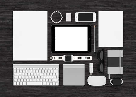 includes: Template technology mockup for corporate branding identity. Includes tablet computer, smart watch, smartphone, keyboard, notebook, trackpad, computer mouse, flash drive. For presentations or portfolio