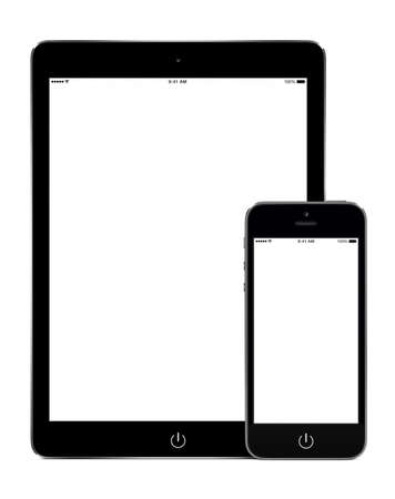 Tablet computer and smart phone in portrait orientation template mockup for responsive design presentation. High quality. Isolated on white background. Stock Photo