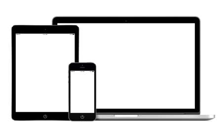 Open laptop, smartphone and tablet pc template for responsive design presentation. All gadgets in full focus. High quality. Isolated on white background.
