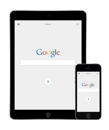 5s: Google search app on the Apple iPad Air 2 and iPhone 5s displays. Google Web Search is the most-used search engine, handling more than 3 billion searches each day. Varna, Bulgaria - February 02, 2015.