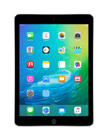 Apple Space Gray iPad Air 2 with touch ID displaying announced on WWDC 2015 iOS 9, designed by Apple Inc. Isolated on white background. High quality. Varna, Bulgaria - February 02, 2014