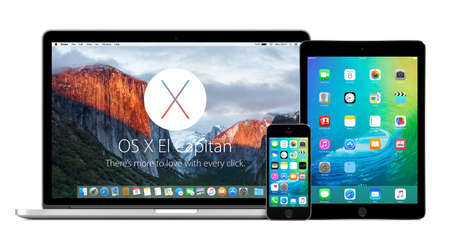 Directly front view of Apple 15 inch MacBook Pro Retina with OS X El Capitan on the display, iPhone 5s and iPad Air 2 with iOS 9 on the displays. Isolated on white background. Varna, Bulgaria - February 02, 2015.