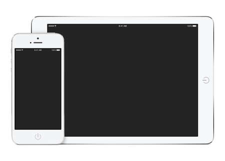 adaptive: White tablet computer in landscape orientation and smartphone in portrait orientation template for adaptive design presentation. High quality. Isolated on white background.