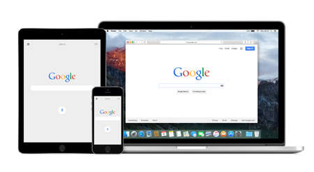 Google app on the Apple iPhone 5s and iPad Air 2 displays and desktop version of Google search on the Apple Macbook Pro Retina screen. Isolated on white background. Varna, Bulgaria - February 02, 2015. Editoriali