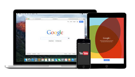 google plus: Google products multi devices set with web Google search on Apple Macbook Pro, YouTube app on iPhone 5s and Google Plus on iPad Air2. Isolated on white background. Varna, Bulgaria - February 02, 2015. Editorial