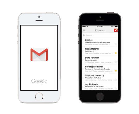 mail: Varna, Bulgaria - May 26, 2015: Google Gmail app logo and Gmail inbox on the front view white and black Apple iPhones. Gmail is a free e-mail service provided by Google. Isolated on white background.