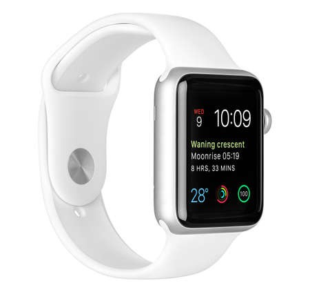Varna, Bulgaria - October 16, 2015: Apple Watch Sport 42mm Silver Aluminum Case with White Sport Band with modular clock face on the display. Left side view fully in focus. Isolated on white background. 新聞圖片