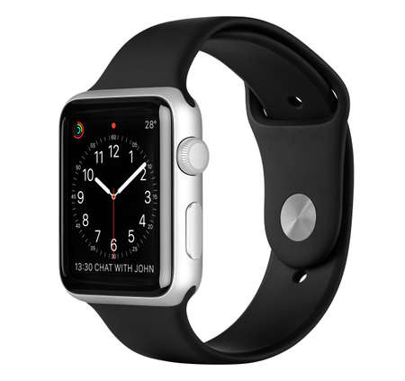 Varna, Bulgaria - October 16, 2015: Apple Watch Sport 42mm Silver Aluminum Case with Black Sport Band with clock face on the display. Side view studio shot fully in focus. Isolated on white background. Redakční